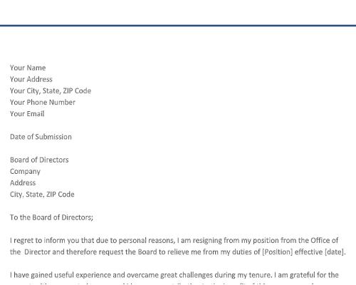 Director Resignation Letter