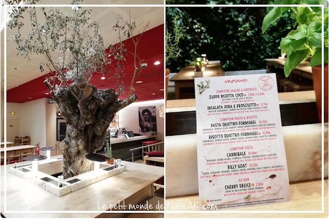 carte hiver au restaurant italien Vapiano jusqu'au 1 er avril