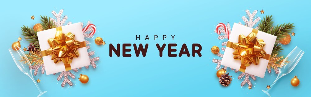 Happy New Year Invitation Header Blue Images