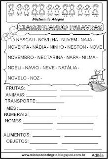 Classificar palavras com letra N