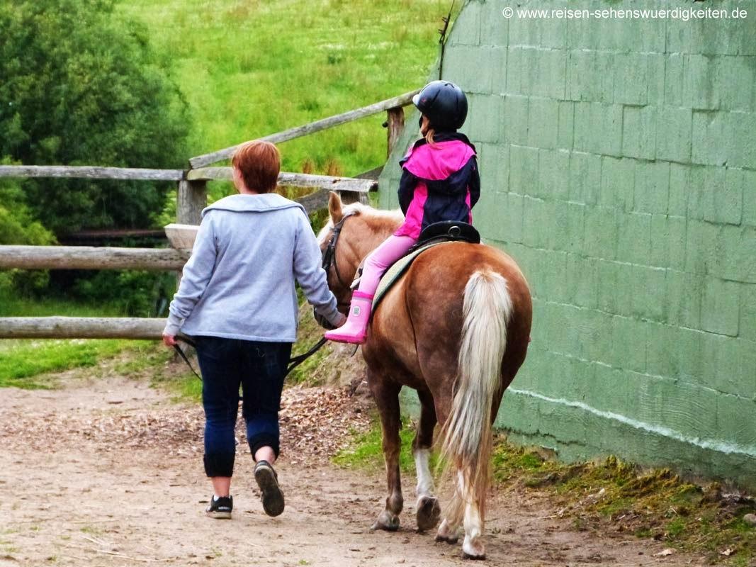 Ponyreiten auf dem Bauernhof