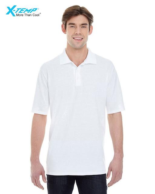 Hanes 055P Mens X-Temp Pique Short-Sleeve Polo- White – XL