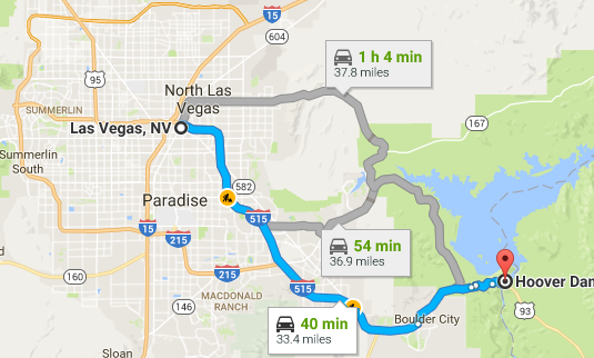 Similiar Grand Canyon And Hoover Dam Between Las Vegas Map