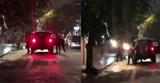 VIDEO ; Muestra como sicarios bajan de una camioneta y comienzan a disparar con cuernos de chivo contra una vivienda en Tamaulipas
