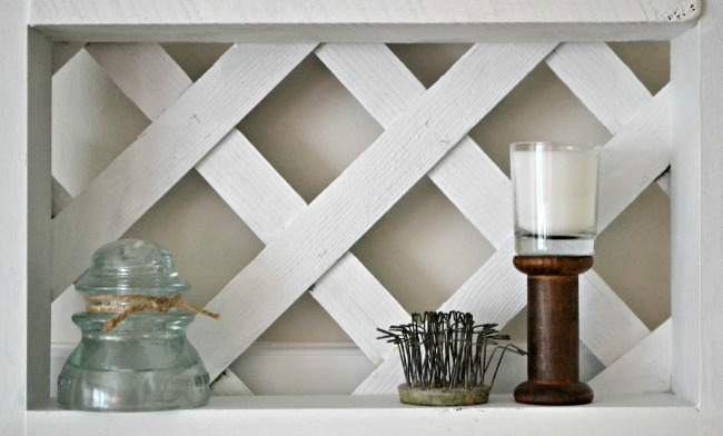 wooden lattice shelving