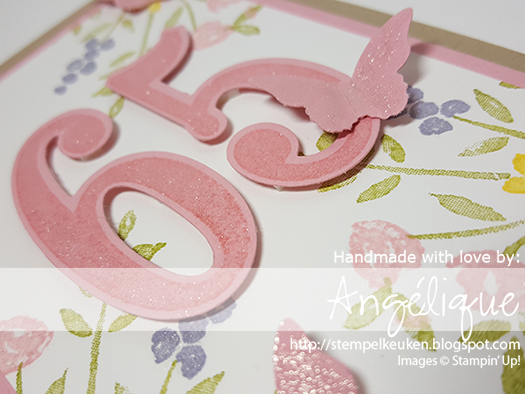 http://stempelkeuken.blogspot.com De Stempelkeuken Bitty Butterfly punch, Blushing Bride, Crumb Cake Note Cards, Daffodil Delight, Large Numbers Framelits, Number of Years, Number of Years bundle, Old Olive, Wink Of Stella, Wisteria Wonder