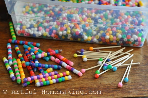 Fine Motor Coordination: Keeping Little Ones Hands Busy. Pony beads