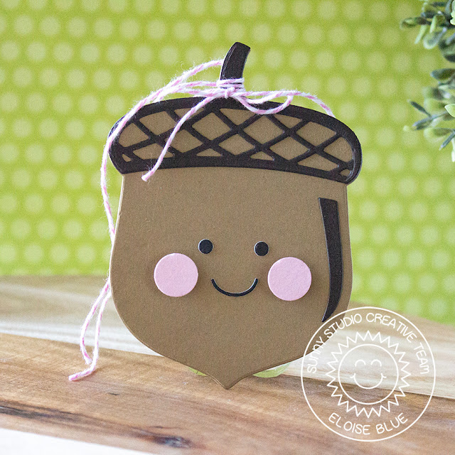 Sunny Studio Stamps: Nutty For You Quick and Easy Kraft Brown Acorn Tag by Eloise Blue