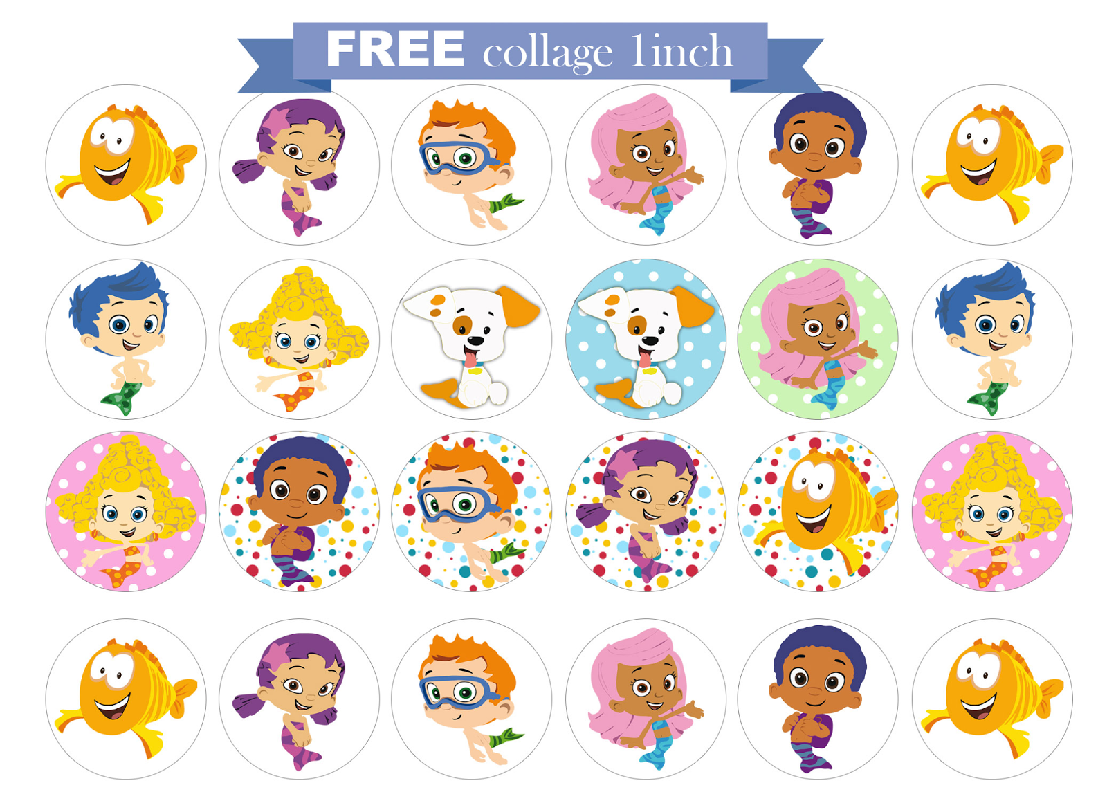 free printable invitation: Bubble Guppies FREE collage 1 inch.