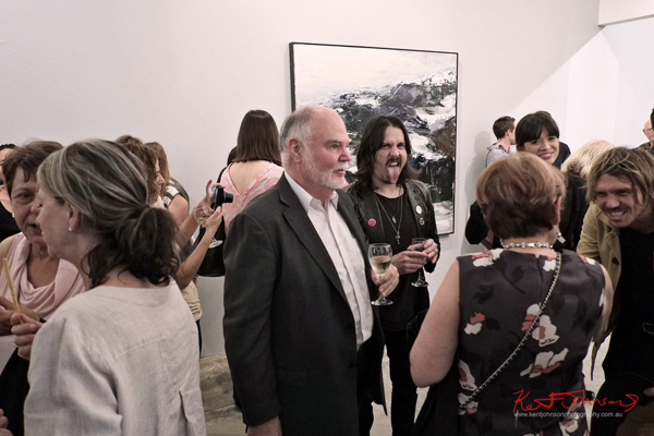Rock n Roll crowd at Aaron Kinnane's Winter Passing, Milk Moon Rising. Art House Gallery.  Photography by Kent Johnson for Street Fashion Sydney.