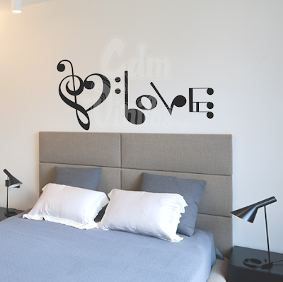 Vinilo decorativo pared clave de amor w315 cdm for Vinilo decorativo musical pared