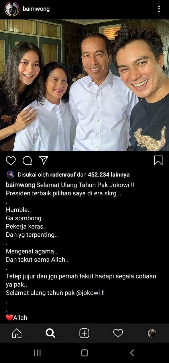 """Usai ''DIBANTAI WARGANET'', Baim Wong Hapus """"Jokowi Presiden Terbaik"""""""