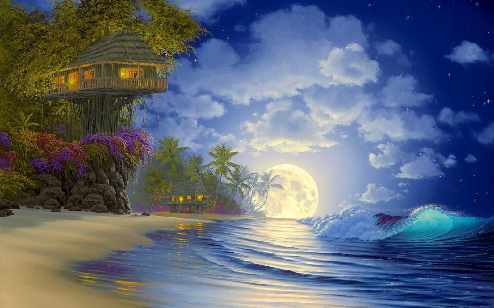 I Love Tree House Full Moon Tree House Wallpaper 1680x1050