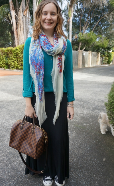 Away From Blue | teal henley jersey maxi skirt converse LV speedy casual comfy outfit