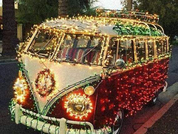 VW campervan covered in christmas lights