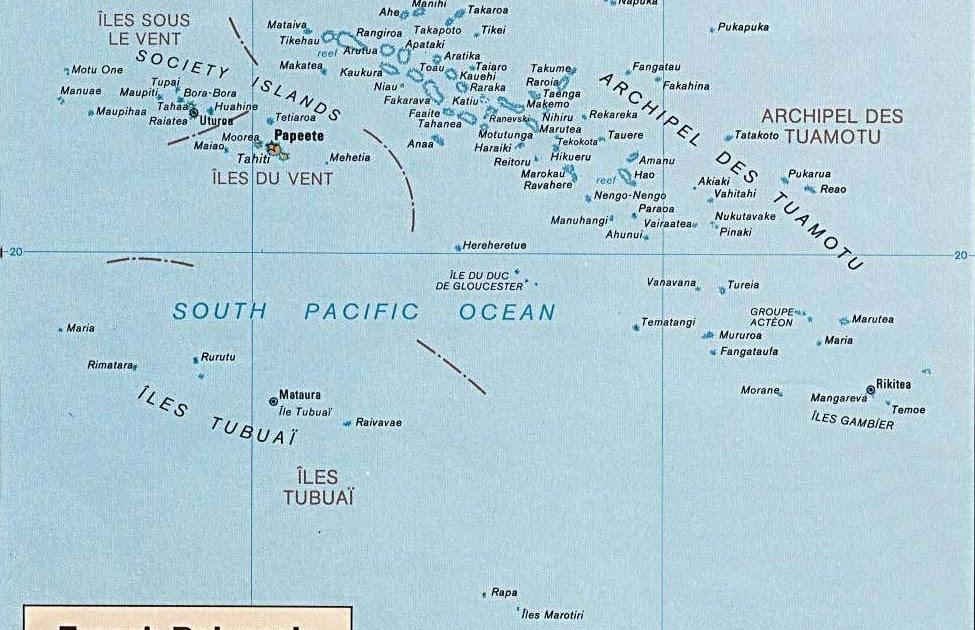 French Polynesian Islands World Map