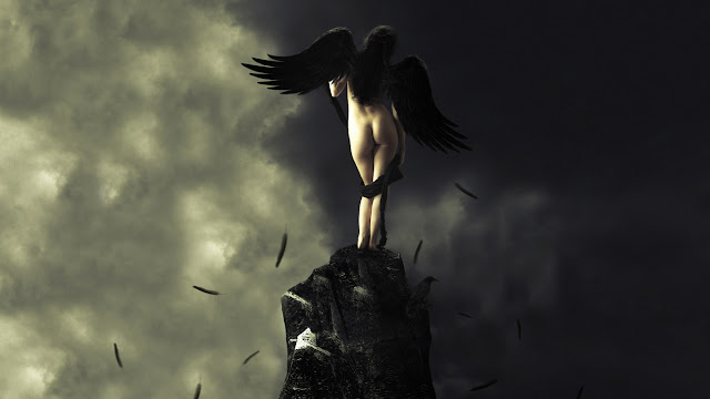 fantasy, angelo, ali nere,