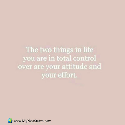 The two things in life you are in total control over are your attitude your effort. #InspirationalQuotes #MotivationalQuotes #PositiveQuotes #Quotes #thoughts