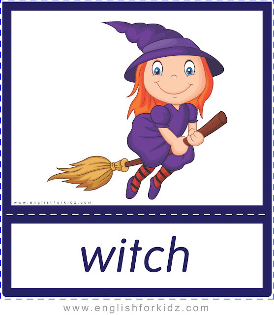 Witch - Printable Halloween flashcards