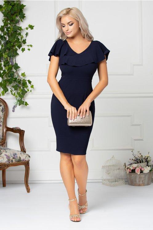 Rochie marime mare frumoasa ieftina bleumarin eleganta bust si spate in V cu volane