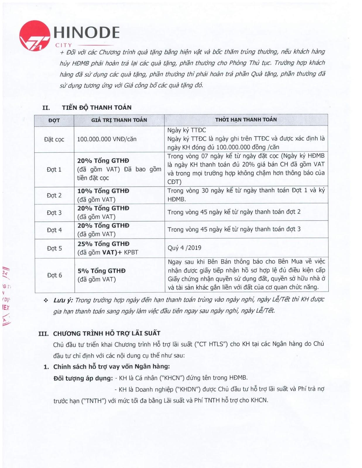 Chính sách thanh toán khi mua căn hộ chung cư Hinode City