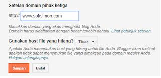 cara memasukkan domain COM ke blogger