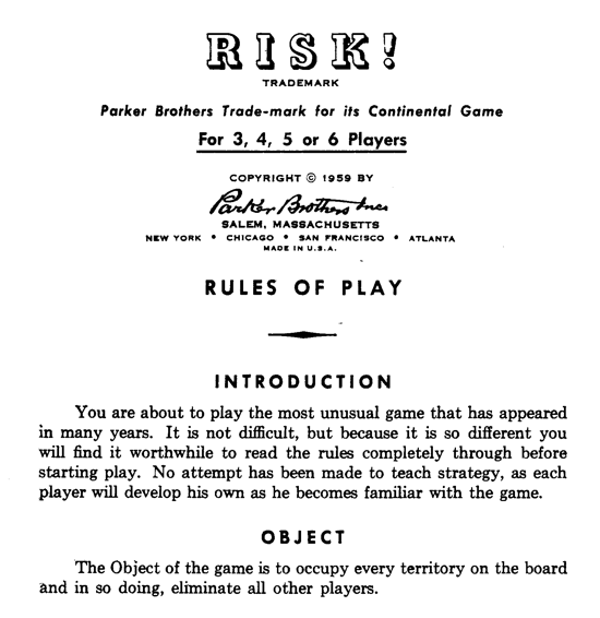 Risk 1959, instruction manual
