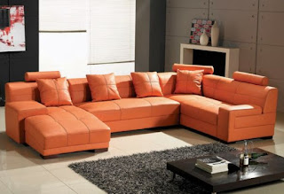 sala en gris naranja