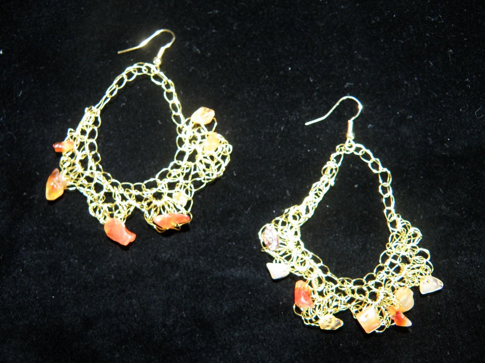 Σκουλαρίκια πλεκτό σύρμα πορτοκαλί πέτρες d5017461258