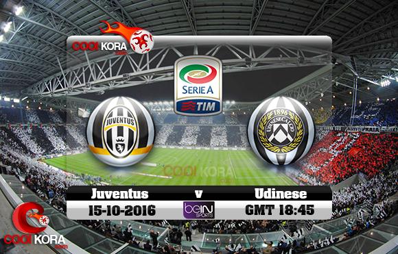 مشاهدة مباراة يوفنتوس وأودينيزي اليوم 15-10-2016 في الدوري الإيطالي