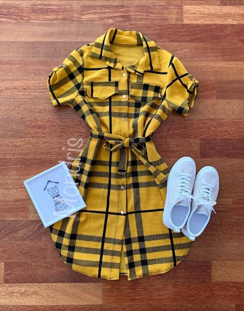 Rochie de vara casual stil camasa galbena cu dungi si cordon in talie