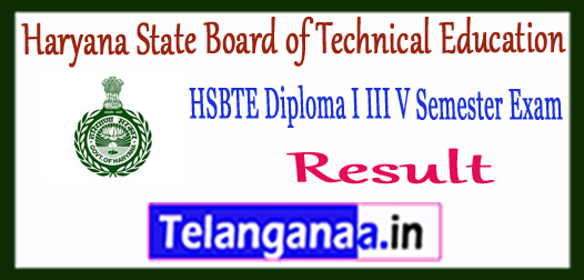 HSBTE Haryana State Board of Technical Education Diploma Polytechnic 1st/3rd/5th Semester Exam Result 2017-18