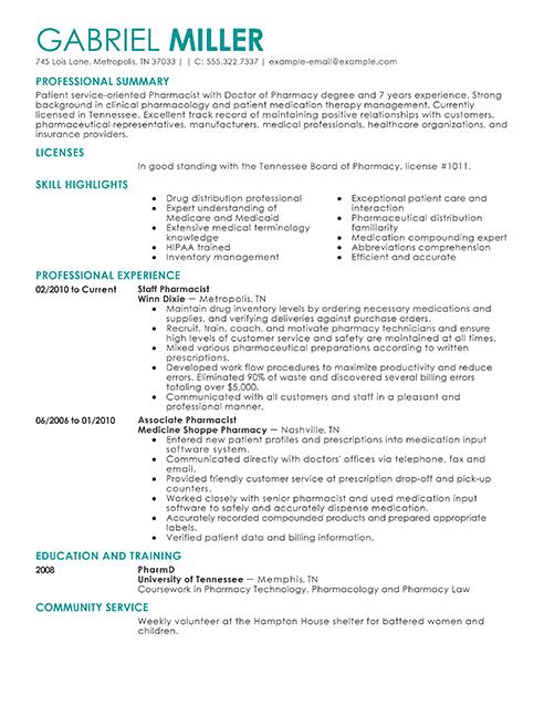 Pharmacy Resume Sample | Sample Resumes