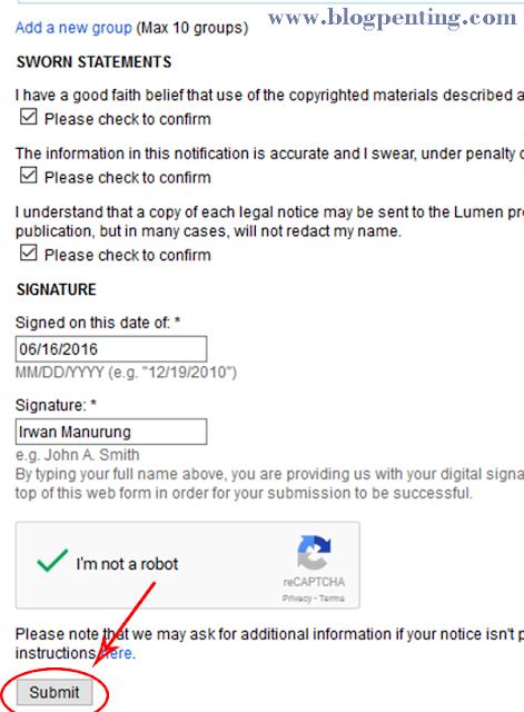 Form pengajuan laporan pencurian artikel ke Google DCMA