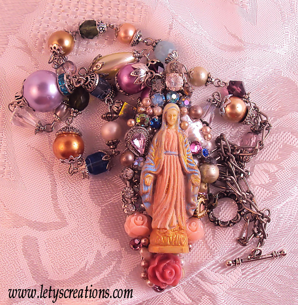 Virgin Mary Miraculous Medal Religious Altered Art Necklace