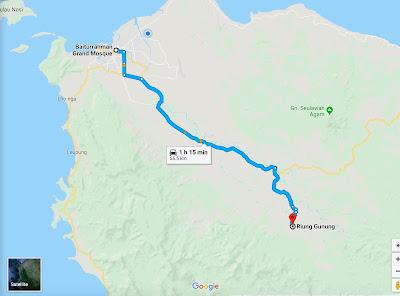 Peta menuju lokasi riung gunung