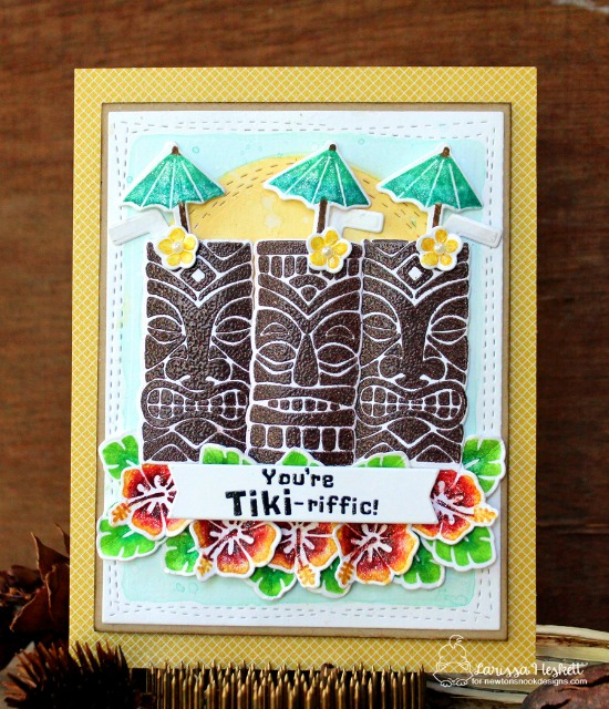Tiki Tropical Drink card by Larissa Heskett | Tiki Time stamp set by Newton's Nook Designs #newtonsnook