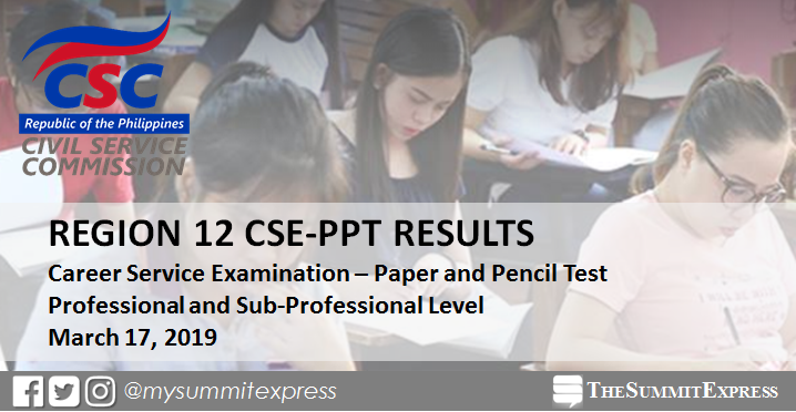 CSC releases March 2019 Civil Service exam results for Region 12