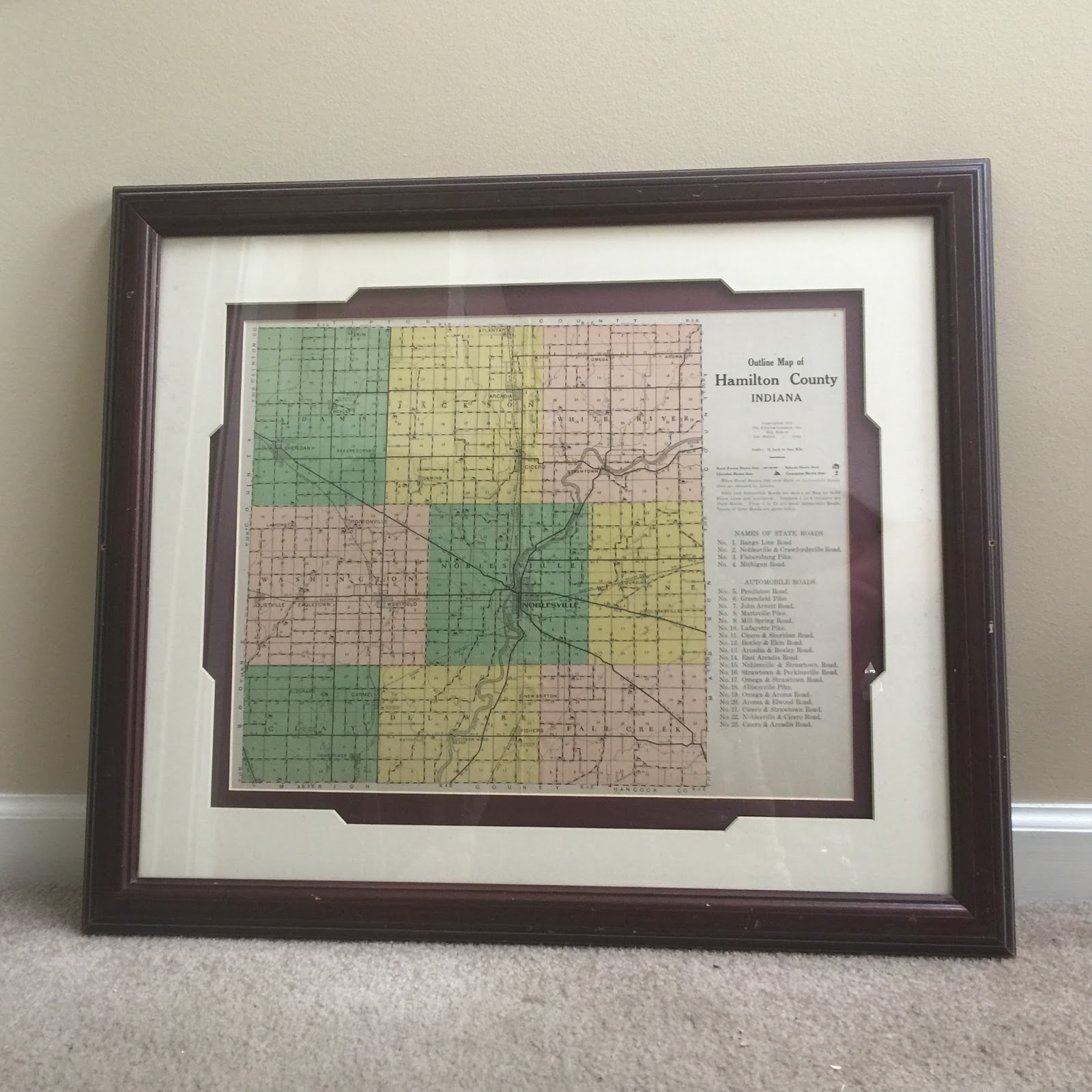 Framed 1921 map of Hamilton County from