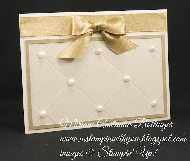 Miriam Castanho-Bollinger, #mstampinwithyou, stampin up, demonstrator, ccmc, wedding card, brushed gold card stock, shimmery white cardstock, simply scored,su