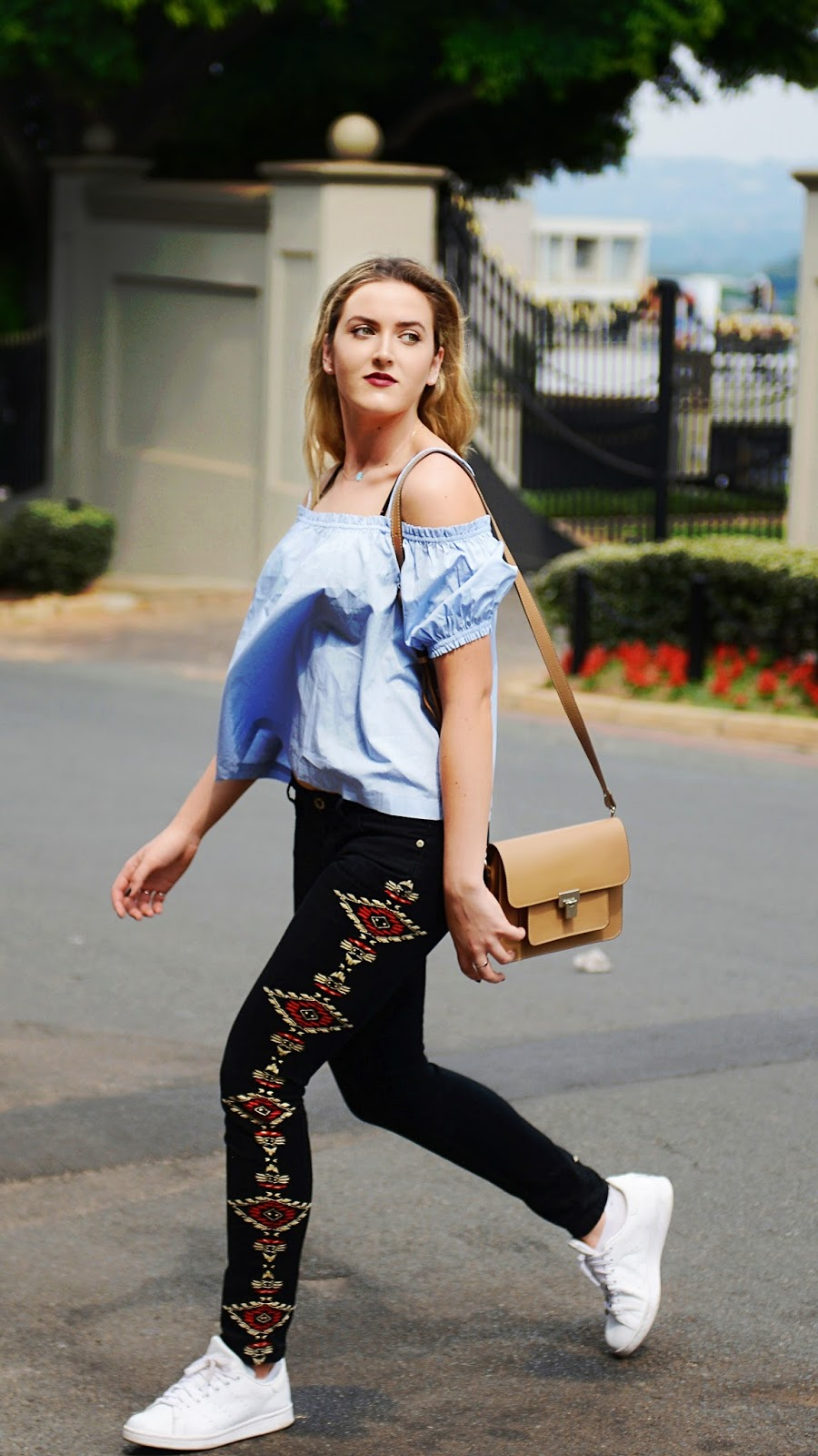 latest trend embroidered denim jeans