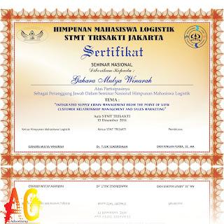 Tempat Percetakan Piagam Sertifikat Penghargaan Murah Di Bengkulu