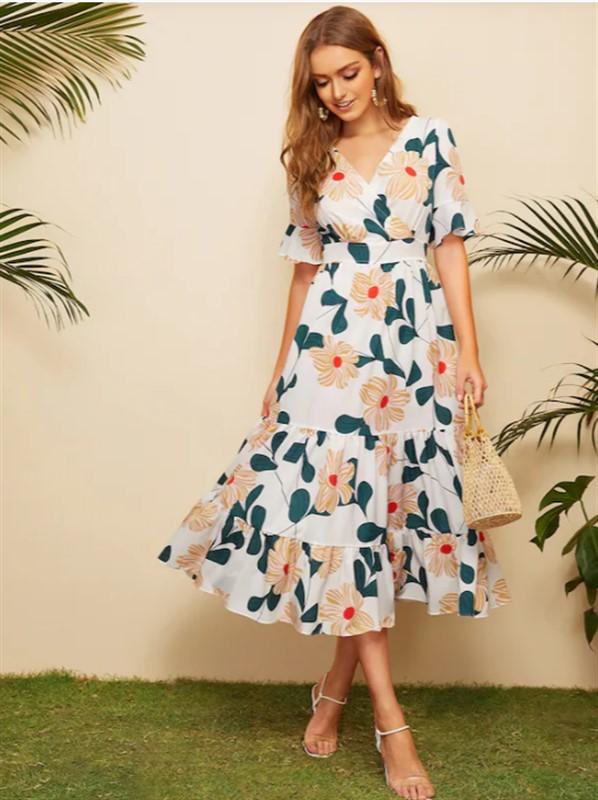 4bdf6d1770 Surplice Floral Print Ruffle Hem Dress - nana shopping