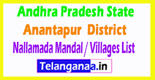 Nallamada Mandal Villages Codes Anantapur District Andhra Pradesh State India