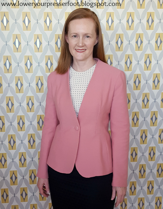 Burda 9/2016 #108 tailored blazer in pink wool www.loweryourpresserfoot.blogspot.com