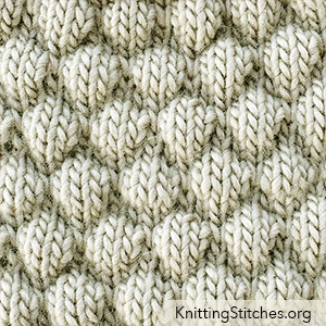 KnittingStitches.org - Bubble Knitting stitch is a fun stitch creating a beautifully fabric, ideal for making  scarfs, bkankets, pillows, etc...