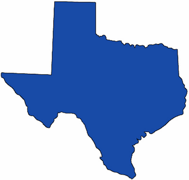 Texas State Clipart - Medium Map With