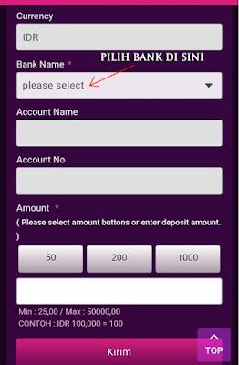 """STEP 3 : Setelah itu akan muncul pilihan bank nya. Silakan pilih bank sesuai yang anda daftarkan dengan cara klik """"pilih bank atau please select"""""""