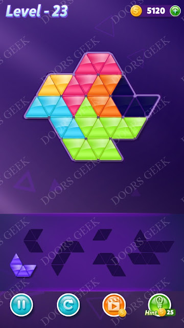 Block! Triangle Puzzle Intermediate Level 23 Solution, Cheats, Walkthrough for Android, iPhone, iPad and iPod
