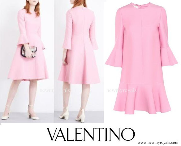 Countess Sophie wore Valentino Bell sleeve wool and silk blend dress